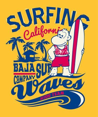 abstract gorilla: Baja California monkey surfing - Funny print for kid t-shirt in custom colors