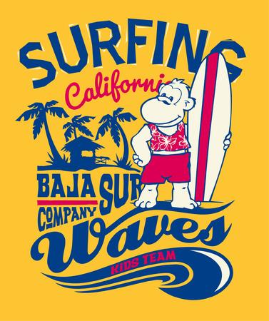 Baja California monkey surfing - Funny print for kid t-shirt in custom colors Vector