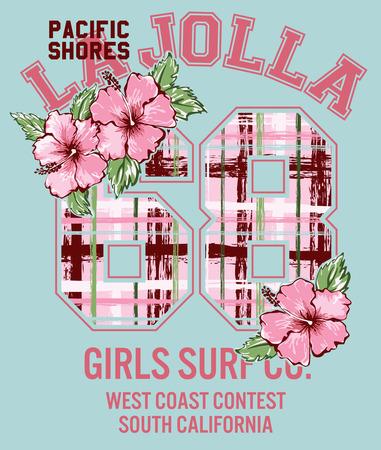 the varsity: La Jolla Girl surfing, vector floral artwork for girls sportswear