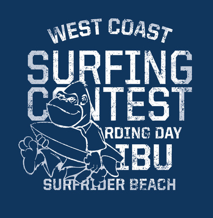 west coast: West Coast surfing contest- Funny print for kid t-shirt in custom colors, grunge effect in separate layer
