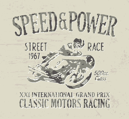 t shirt print: Classic motorcycle racing - Vintage vector artwork for boy t shirt in custom colors