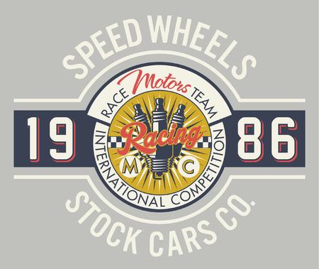spark plug: Speed wheels racing team - Vintage vector artwork for boy t shirt in custom colors