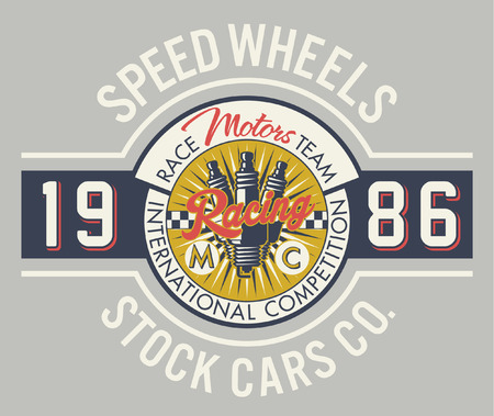 Speed wheels racing team - Vintage vector artwork for boy t shirt in custom colors