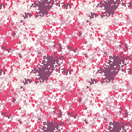 Pink camouflage texture, Vector seamless pattern in custom colors