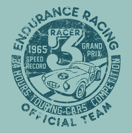 t shirt design: Endurance racing team artwork for children wear in custom colors, grunge effect in separate layer