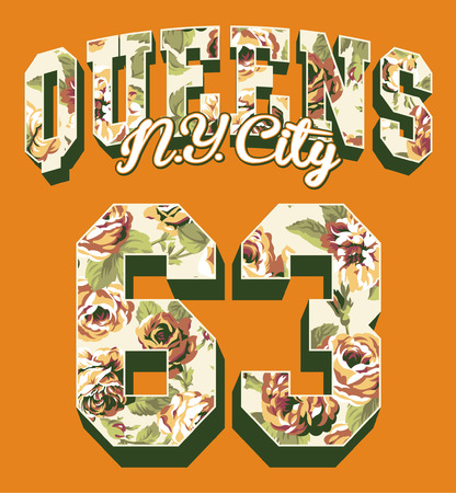 the varsity: Queens New York City, Vintage college artwork for women shirt with roses texture