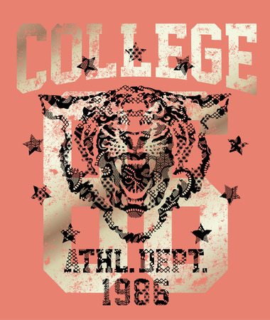 college girl: Tiger athletic department, Vintage artwork college style for women shirt  with lace texture