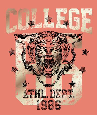 atletismo: Tiger departamento de deportes, estilo de la universidad Ilustraciones del vintage para las mujeres camisa con textura de encaje