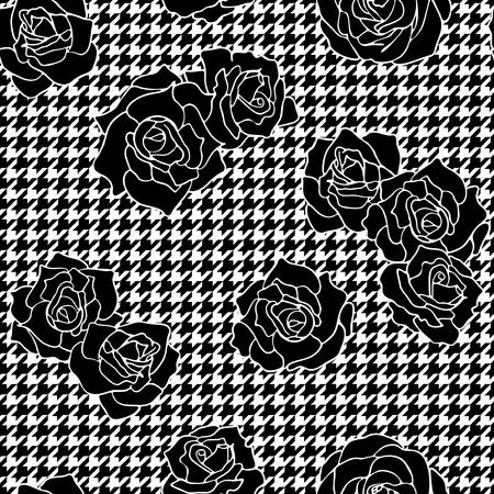 千鳥格子背景には、ヴィンテージの花のベクトルのシームレスなパターンとのバラ