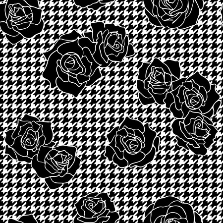 Roses with houndstooth background, vintage floral vector seamless pattern Vettoriali