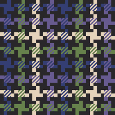 multi colored houndstooth fabric, vintage vector seamless pattern in custom colors