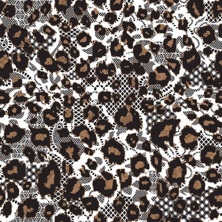 guepardo: Fondo de la piel del leopardo con encaje, modelo incons�til del vector