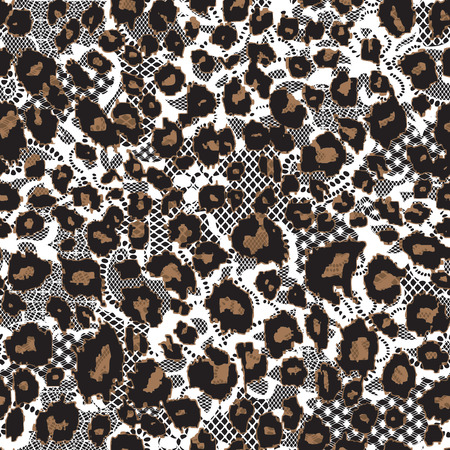 Leopard fur background with lace, seamless vector pattern