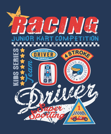 kid karting competition , prints for kids wear with embroidery patches in custom colors
