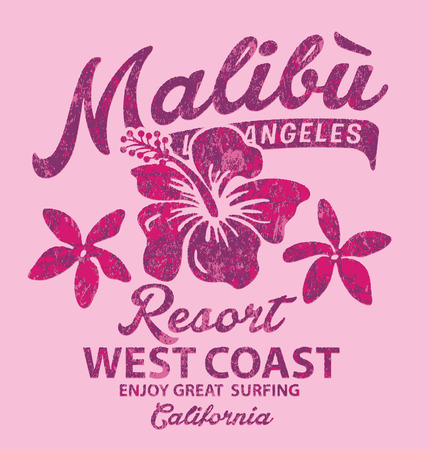 girl shirt: Malibu surfing with hibiscus - Vector vintage print for girl t-shirt in custom colors