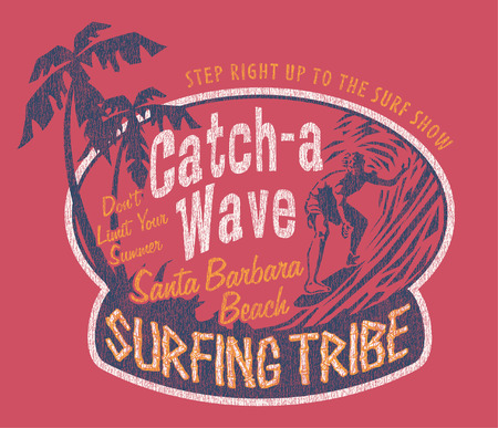 Santa Barbara surfing, vintage prints for sports wear in custom colors, grunge effect in separate layer
