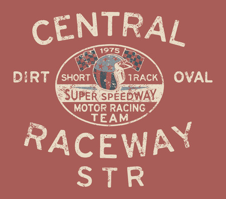 speedway: Speedway racing team - Vintage vector artwork for boy t shirt in custom colors, grunge effect in separate layers