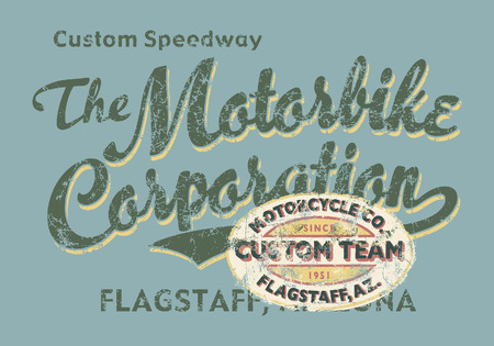 Custom Motorbike corporation  - Vintage vector artwork for boy t shirt in custom colors