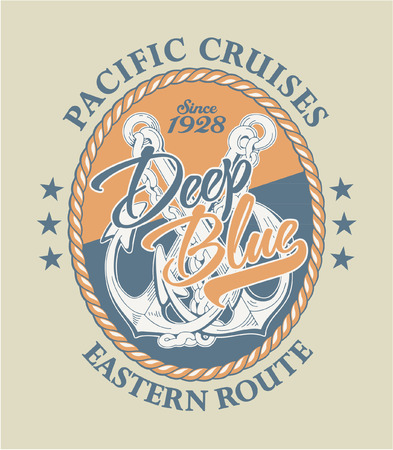 anchor man: Deep Blue Pacific cruises, Vintage vector artwork in custom colors Illustration