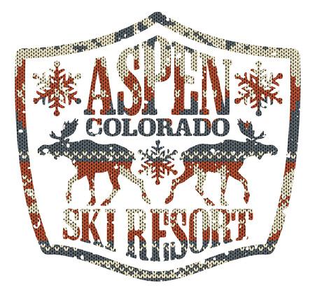 アスペンのスキー リゾート、カスタム色のニットの質感を持つヴィンテージ ベクター アートワーク