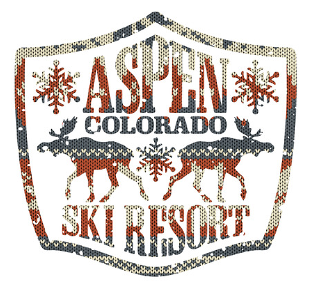 ski resort: Aspen ski resort, vintage vector artwork with knitted texture in custom colors