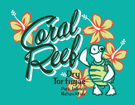 tortuga caricatura: Arrecife de coral Tortuga isla, ilustraciones vectoriales para los ni�os del desgaste del verano en colores personalizados