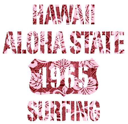 Aloha State surfing. Vintage vector artwork for T-shirt with tribal background in custom colors. Vector