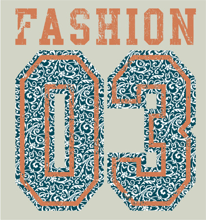 athletic wear: Fashion college. Vector artwork for woman T shirt with arabesque pattern