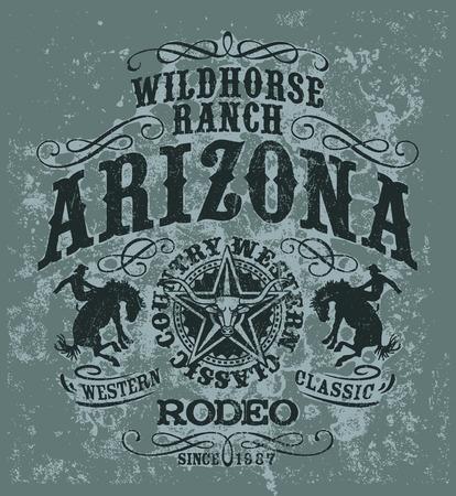 アリゾナの野生馬ロデオ、グランジ ベクトルのアートワークを独自の色の t シャツ