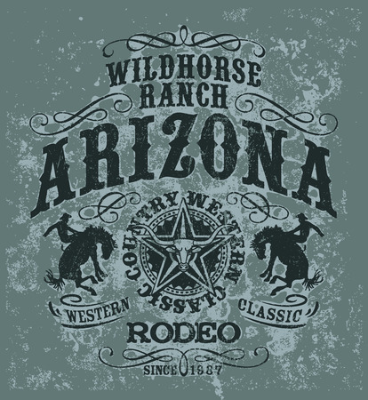 bucking horse: Arizona wild horse  rodeo, grunge vector artwork for t shirt in custom colors