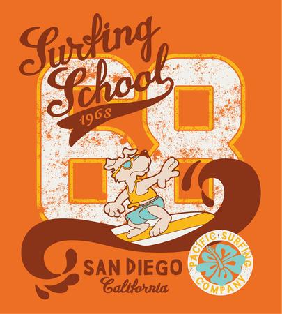 Cute surfing dog school, artwork for kid t-shirt in custom colors Vector