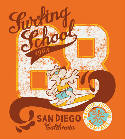 Cute surfing dog school, artwork for kid t-shirt in custom colors Illustration