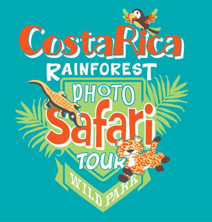 baby cartoon: Costa Rica photo safari tour, vector print for children wear in custom colors