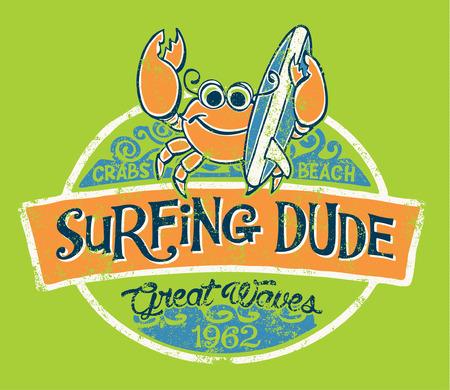 Surfista cangrejo lindo, vector de impresión para los niños desgaste en colores personalizados, efecto del grunge en la capa separada Ilustración de vector
