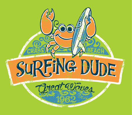 cangrejo: Surfista cangrejo lindo, vector de impresión para los niños desgaste en colores personalizados, efecto del grunge en la capa separada