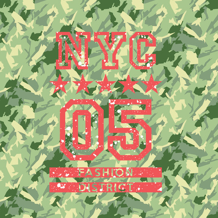 NYC fashion army style, artwork for woman wear, camouflage seamless vector pattern background