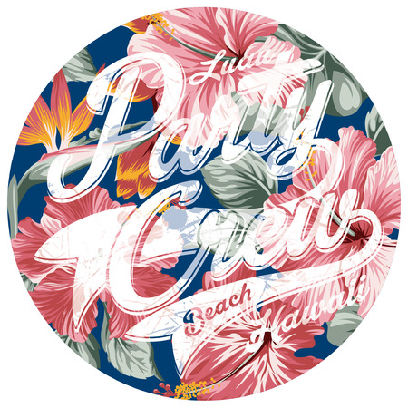 hawaii islands: Luau party crew hawaii, vector artwork for woman t shirt Illustration
