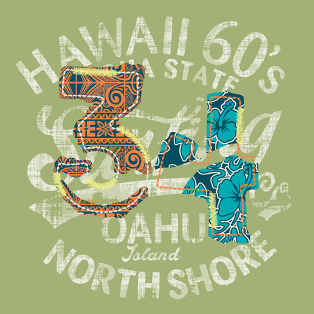 surf: Hawaii surfing, vintage artwork for t shirt with print and embroidery patch