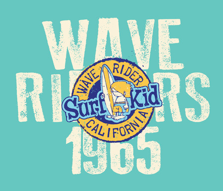 kids wear: California wave riders - Artwork for children wear in custom colors Illustration