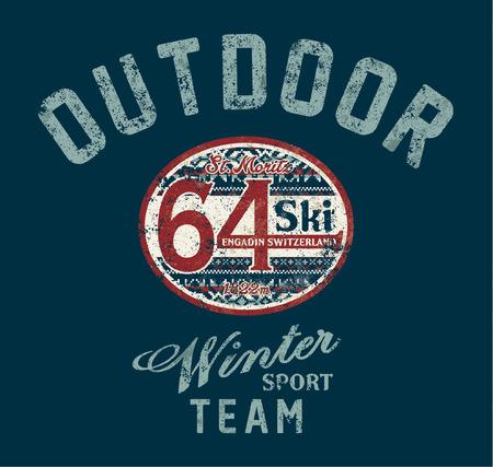 swiss alps: St. Moritz winter ski team, Vintage artwork for sportswear grunge effect in separate layer Illustration