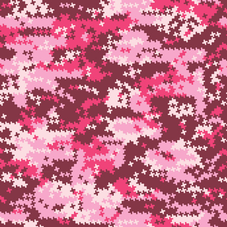 Camouflage pink  houndstooth, vector seamless pattern in custom colors