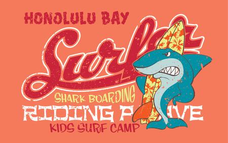 Surfing shark - Vector artwork for children wear in custom colors, grunge effect in separate layer Illustration