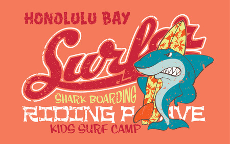 sharks: Surfing shark - Vector artwork for children wear in custom colors, grunge effect in separate layer Illustration