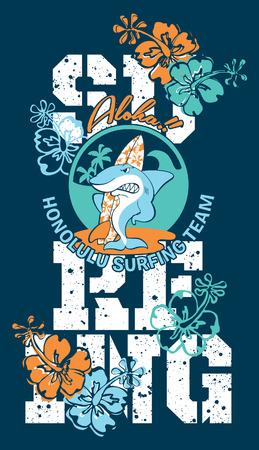 Surfing shark - grafica vettoriale per i bambini portano in colori personalizzati, effetto grunge in strato separato