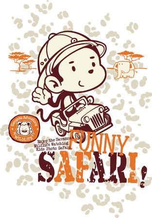 Funny safari monkey, vector for children wear in custom colors