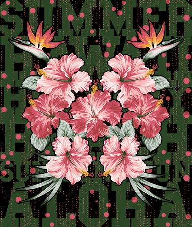 Hibiscus and strelitzia flowers , vector artwork for girl summer t shirt