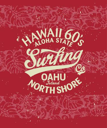 ハワイ サーフィン、ビンテージ t シャツ グランジ効果は別のレイヤーにアートワーク