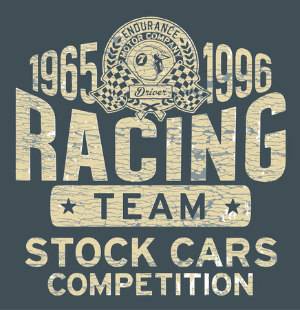 t shirt design: Stock car racing team - Vintage vector artwork for boy sports wear in custom colors, grunge effect in separate layer.