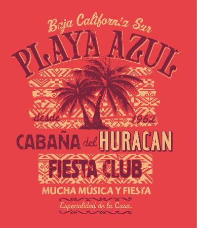 vacaciones en la playa: Baja California Fiesta Club, de impresi�n del vector para el desgaste del verano en colores personalizados, efecto del grunge en la capa separada