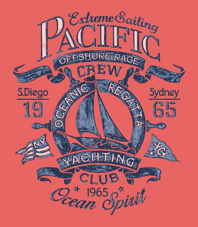yacht: Extreme sailing regatta. Vector artwork for T-shirt print in custom colors